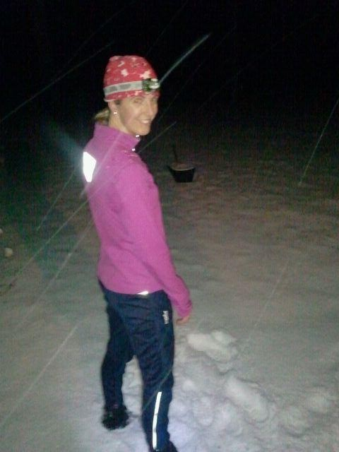 Winter Trail Running at Night-LOVE!