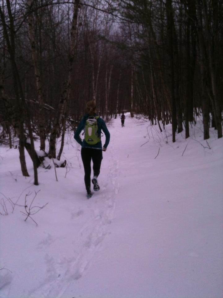 Trail running heaven in the snow with two amazing and strong runners=the perfect motivation