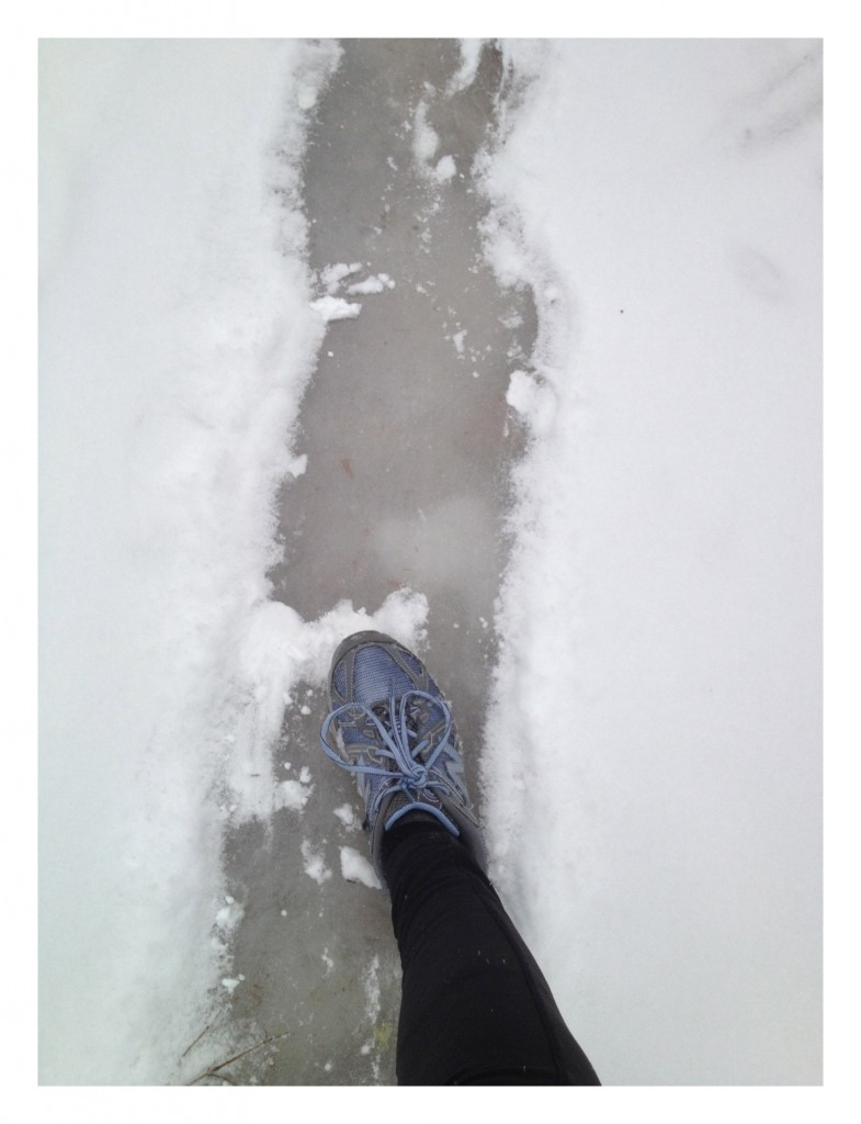 This ice was hiding under the snow for the majority of my trail run. I was wishing I had my yak traks or MICROspikes. Right after I took the video I slipped and fell on my rear :)