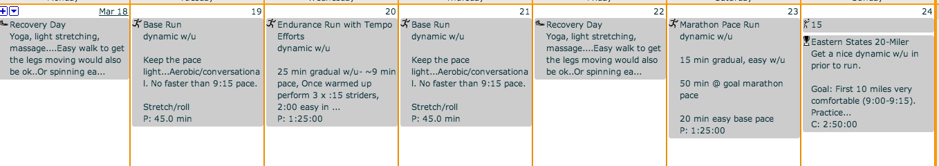 Final week of Boston Marathon Training Pre-Taper from The Sustainable Athlete