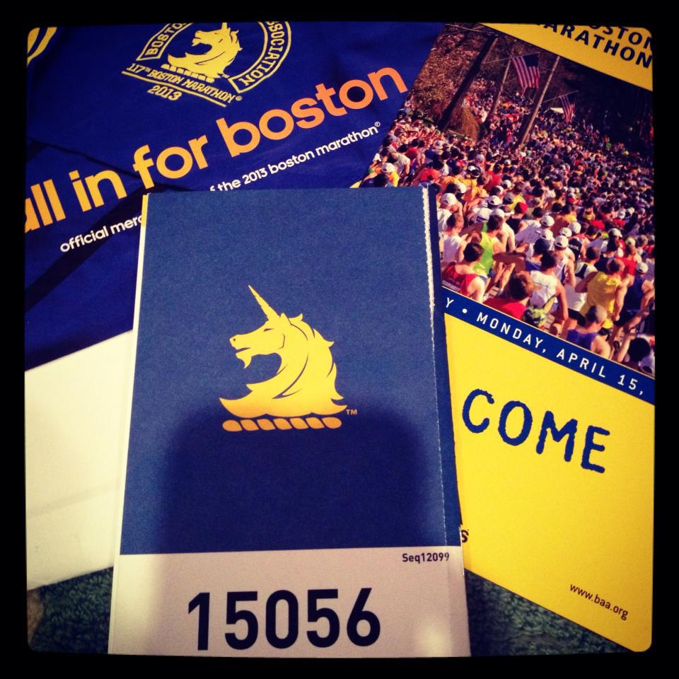 "Boston Marathon BIB Number 15056–I'm ""All in for Boston!"""