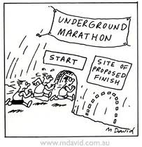 This cartoon totally shows what a typical stress dream might be for me leading up to a race especially during taper time. What a nightmare! A marathon with no finish!!!!!