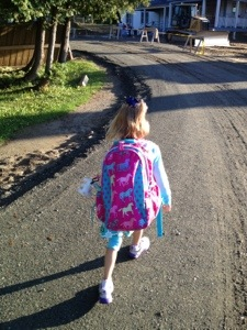 Brave Girl heading to school for a new adventure! Kindergarten!