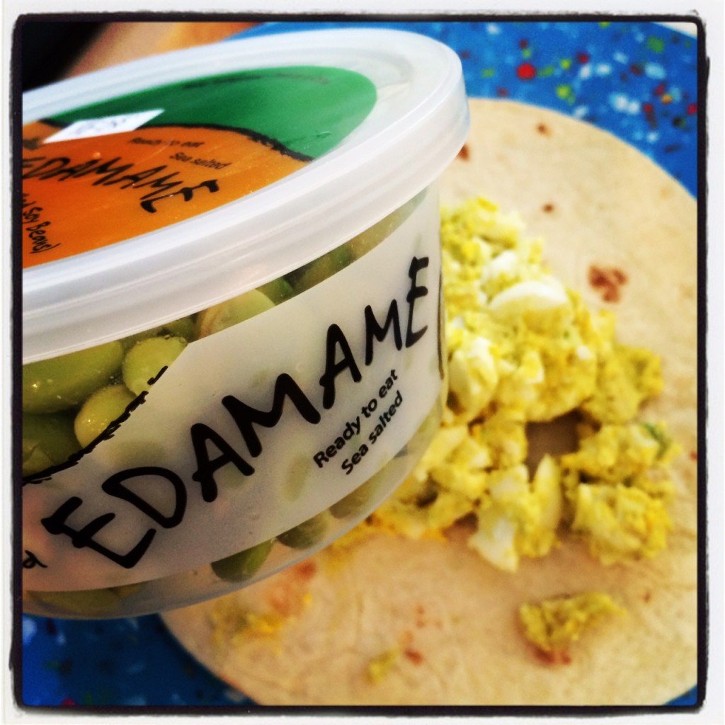 Three of my favorite things-edamame, avocado, and organic eggs