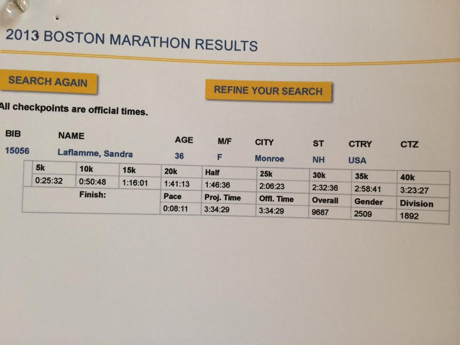 This was my Boston Marathon Race last year. It was a perfect race, until it was over.)