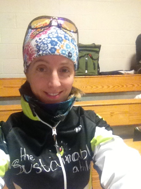 Here I am all bundled up for last years Boston Prep 16 Miler. It was freeeeezing!