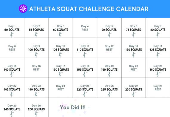 Athleta 30 Day Squat Challenge