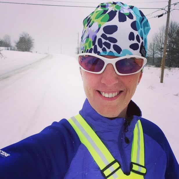 Running in the snow=one happy chick