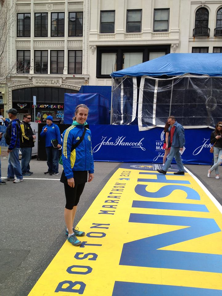 Here I am at the finish line prior to the Boston Marathon 2013
