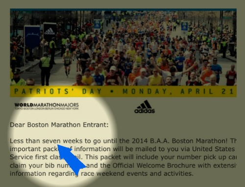 Yikes! Only 7 more weeks until the Boston Marathon!