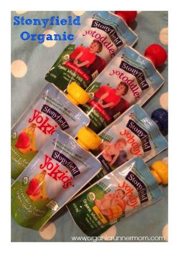 Stonyfield  Organic YoKids, YoToddler, and YoBaby Pouches.