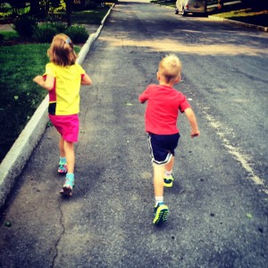 On a run with my kids. They ran a mile and made me do jumping jacks in the middle!