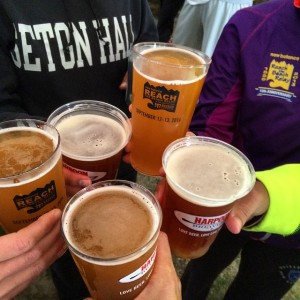 Cheers for Beers. Harpoon Brewery provided the perfect post race beverage!