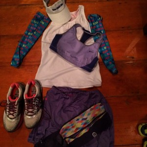 I wore some race day favorites from Skirt Sports, Nike, Gone For a Run, Crazy Compression and of course my Brooks Adrenaline. I ditched the visor as the rains had passed and wore my one of my usual crazy headbands.