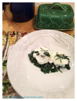 Poached Organic Eggs over Sauteed Garlic Rosemary Spinach