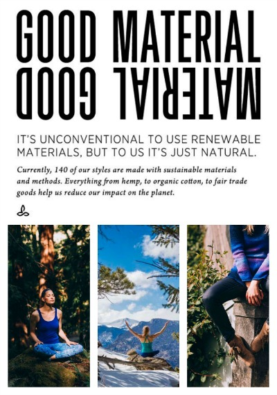prAna. Renewable materials.