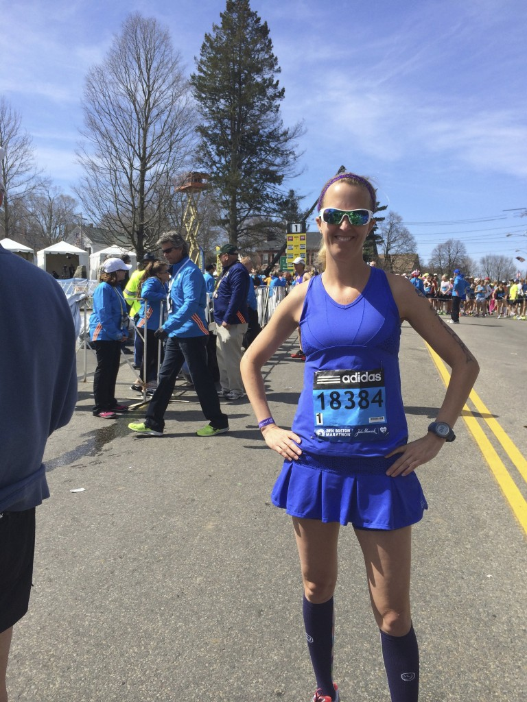 I am lucky. Boston Marathon starting line 2014. Organic Runner Mom.