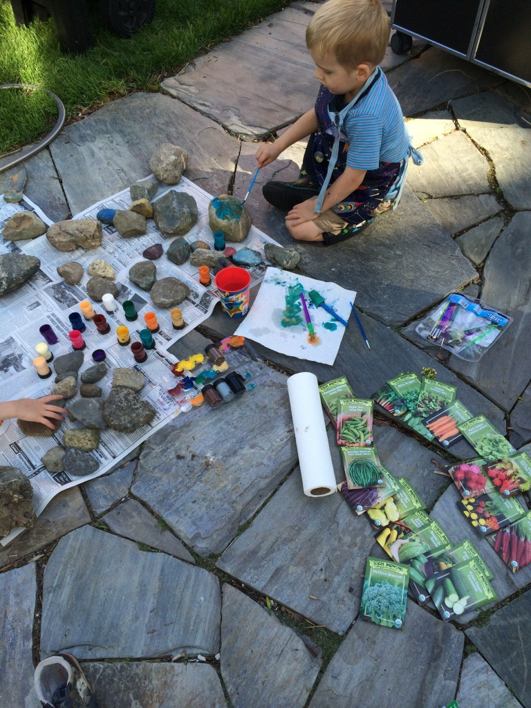 Labeling your garden can be a great activity to do with your kids. We paint stones that the kids collect.