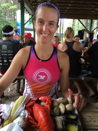 Post race lobster at the Lobsterman triathlon