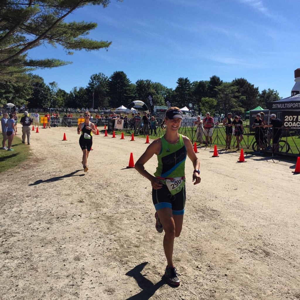 Grinning from ear to ear at the Lobsterman Triathlon