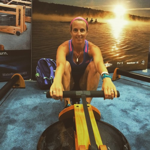 Rowing on the Water Rower this summer at Sweat Pink BlogFest and IDEA Fit