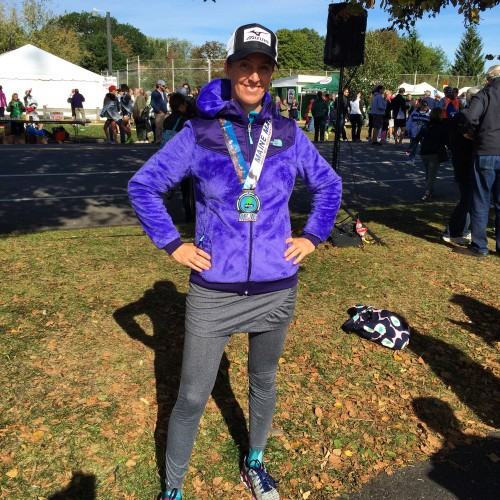 A birthday smile! Maine Half Marathon finisher