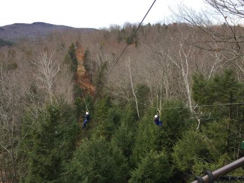 Westerly and Chantel side by side on the first zipline.