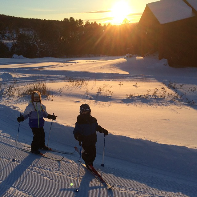 Cross country skiing with the kids.