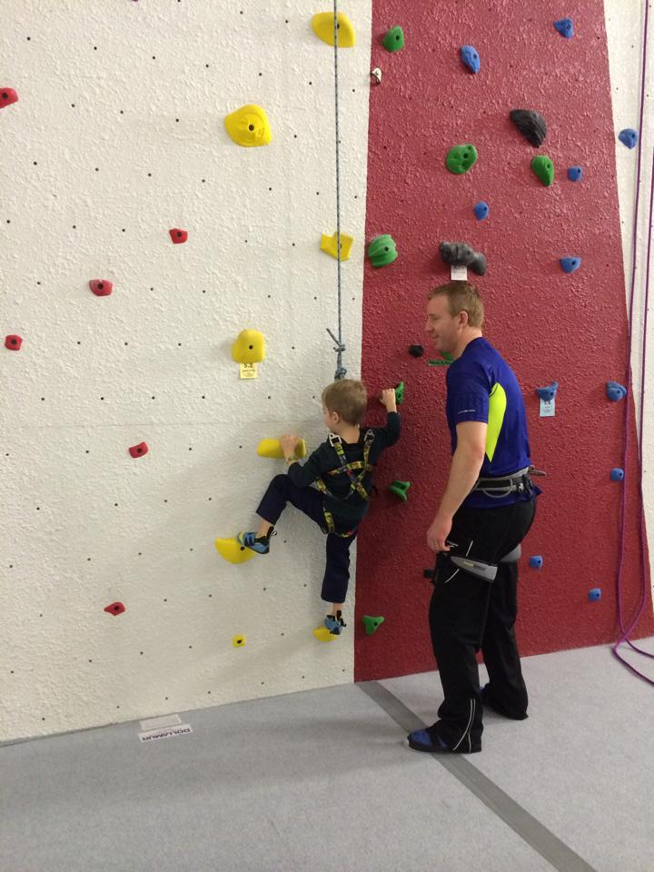 Testing out the wall with Daddy.