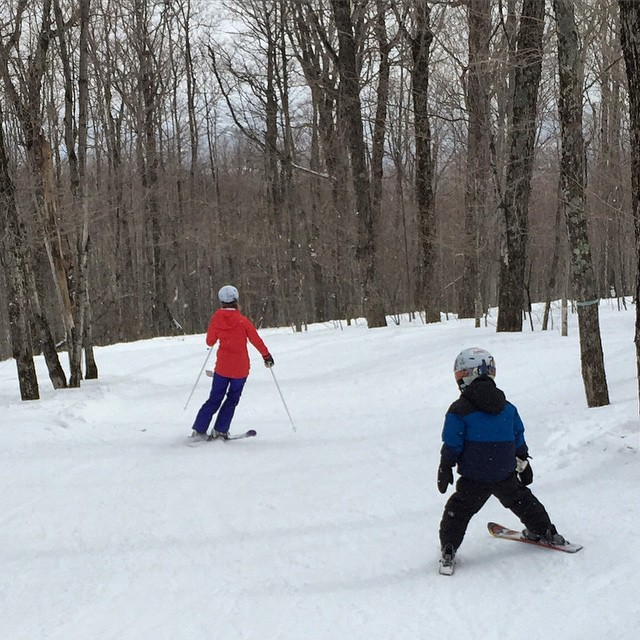 Downhill skiing at Jay Peak in Vermont.