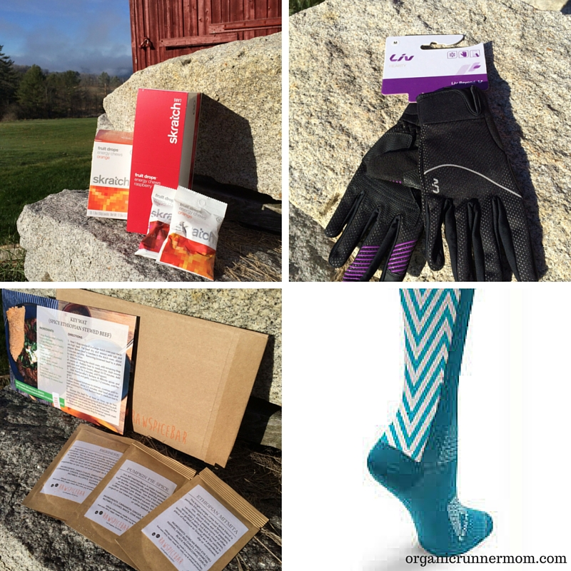 Skratch Labs Fruit Drops Energy Chews, Liv Hearty Gloves, Raw Spice Bar, Crazy Compression