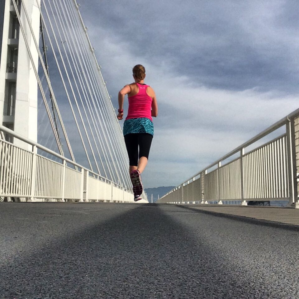 Running on the Bay Bridge in California