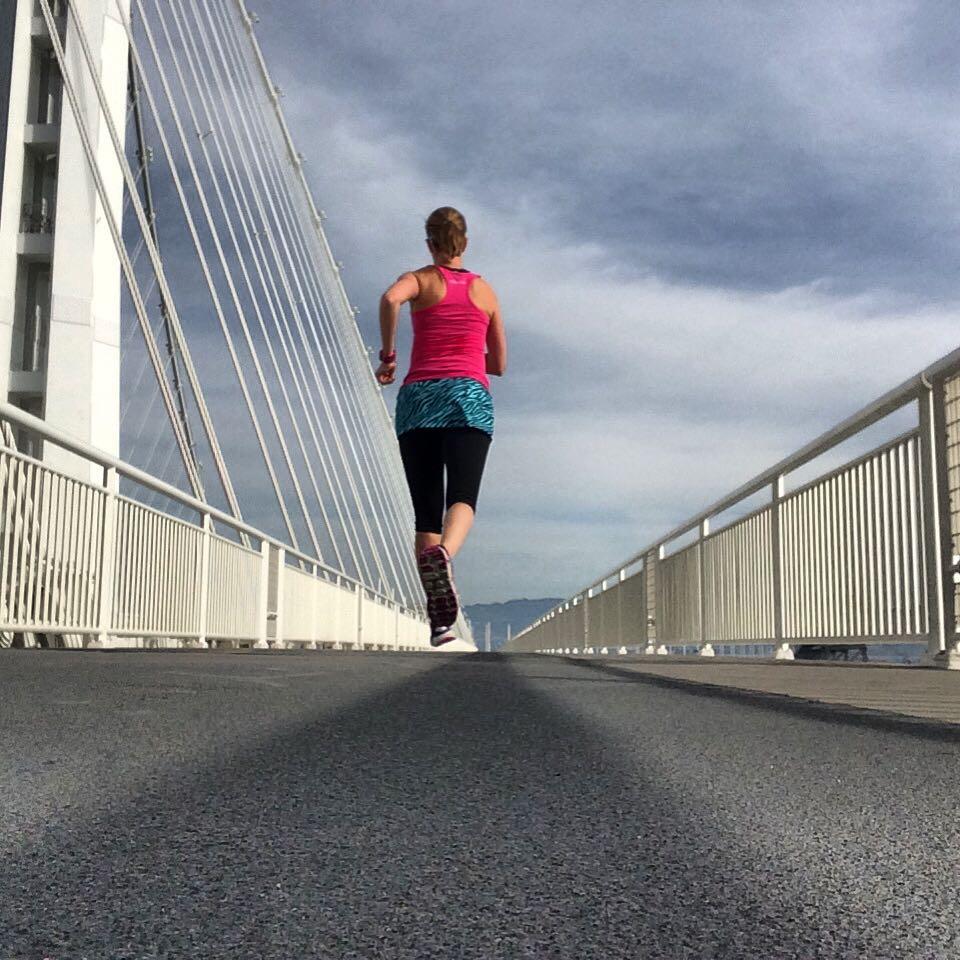 Running on the Bay Bridge in California