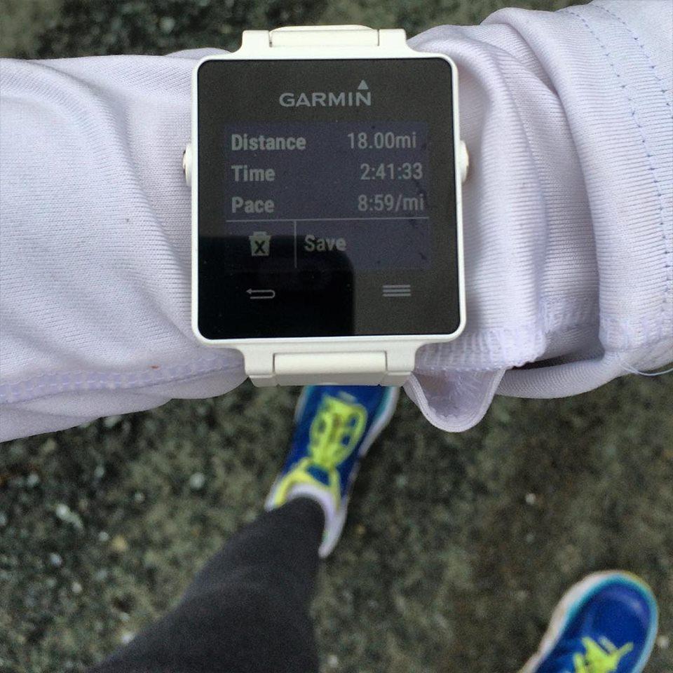 18 miles, Garmin Vivoactive, Hoka One One Cliftons