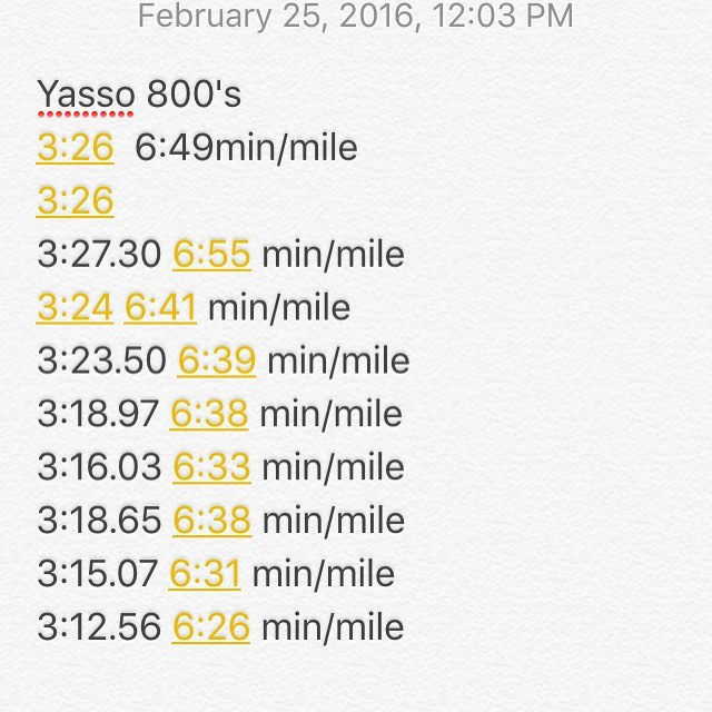 Yasso 800's minute per mile pacing