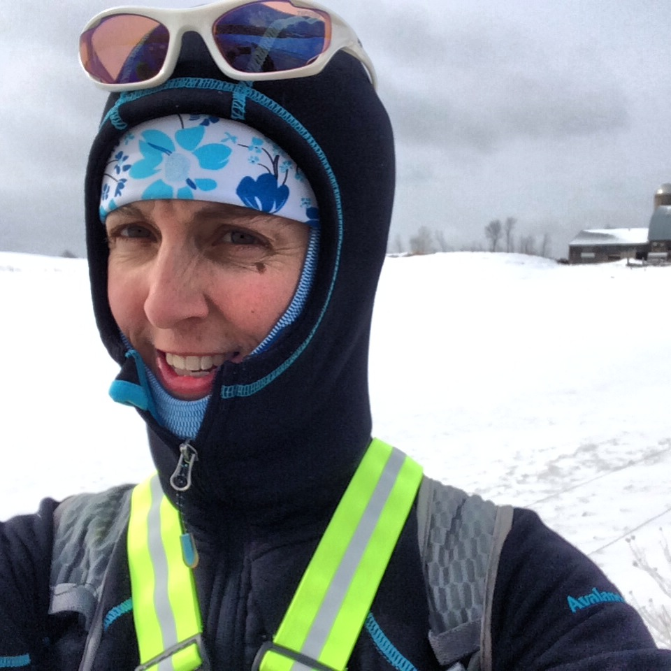 Bundled up training for Boston in 2014.