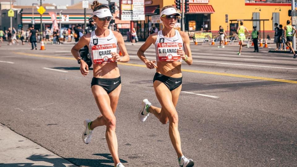 Runners in sync at the U.S,. Olympic Marathon Trials. Motivation.