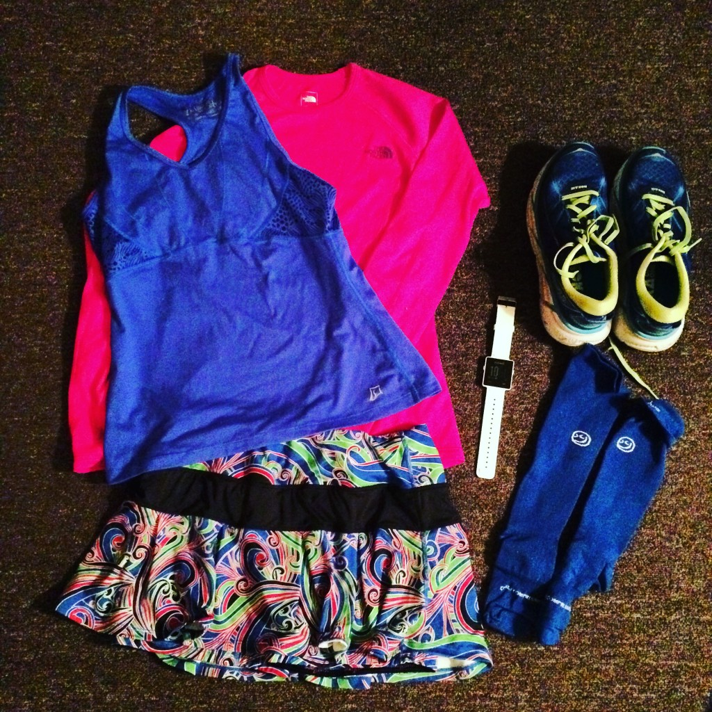 Race outfit: Skirt Sports, Crazy Compression, Garmin, the Northface, Hoka One One Clifton 2