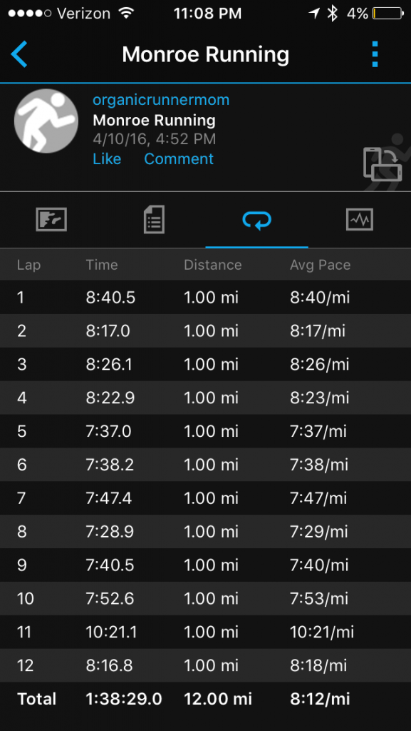 12 miler. Last long run before the Boston Marathon.