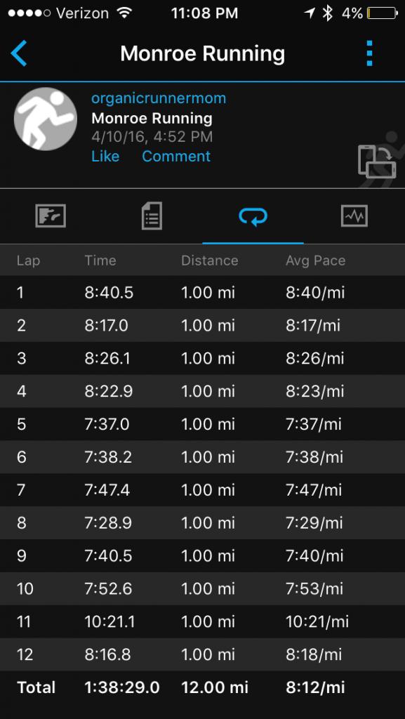 12 miler. Last long run before the Boston Marathon.