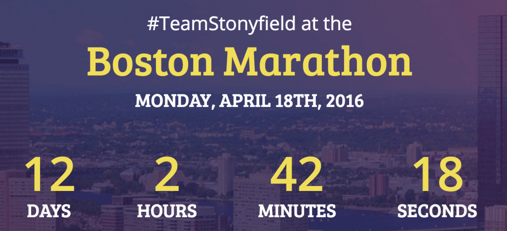 #TeamStonyfield Boston Marathon Countdown