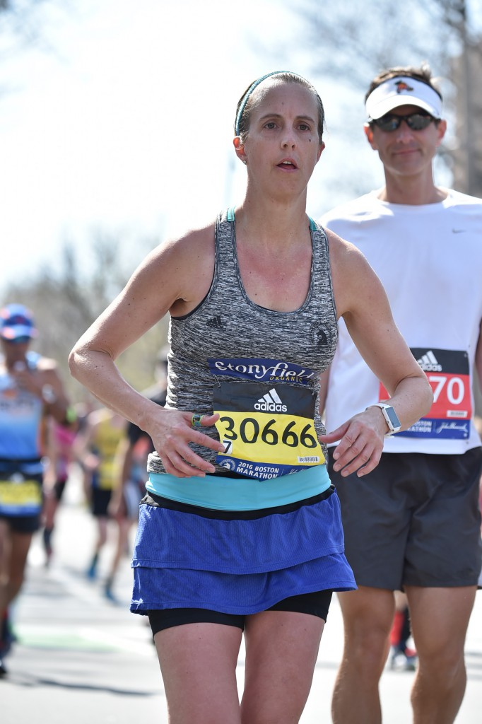The heat at the Boston Marathon this year was intense so I worked hard to stay adequately hydrated. I stopped at every water station and consumed both water and gatorade.