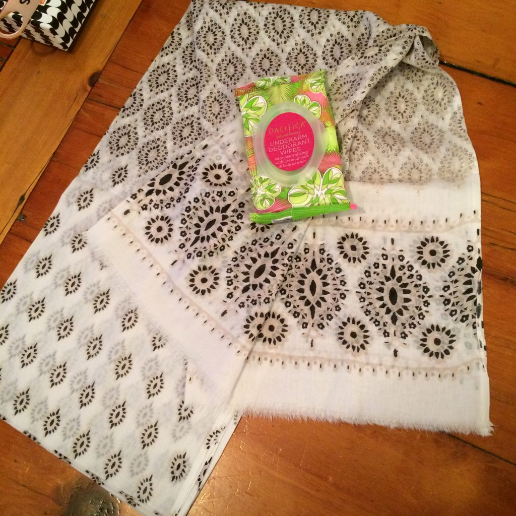 Hat Attack Sarong and Pacifica Deodorant Wipes