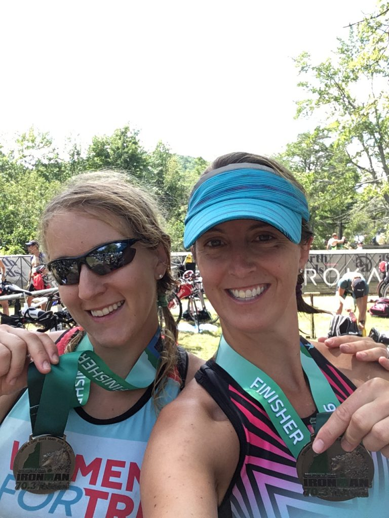 Me and Olivia. We did it! swimming, biking and running at the Timberman Half Ironman