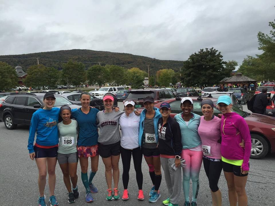 Here is our whole awesome group before the start of the Leaf Peepers Half Marathon. Getting ready for some hilly running
