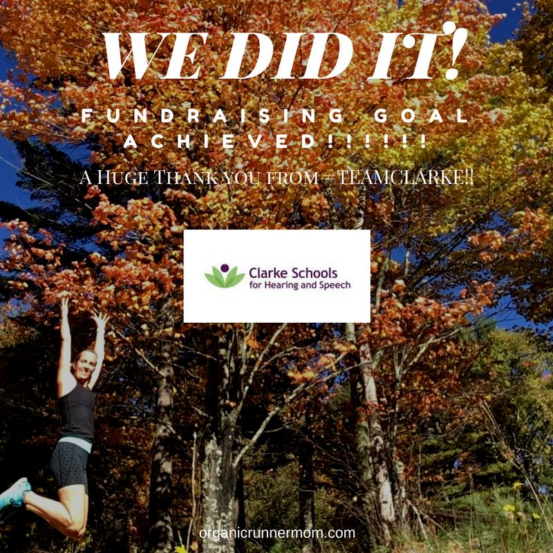 We did it! We made my fundraising goal for TEAM Clarke at the NYC Marathon!