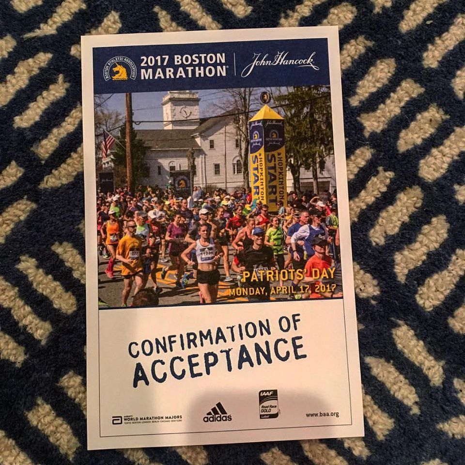 I am in! Boston Marathon 2017 here I come!