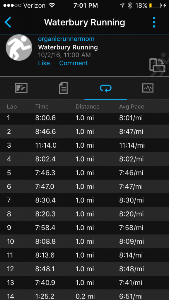 My splits from the Leaf Peepers Half Marathon. You can see where the hills are!