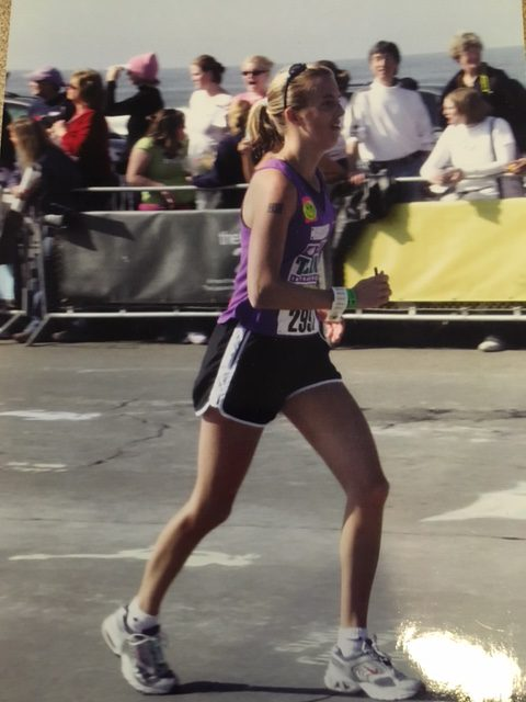 Organic Runner Mom's First Marathon at the Nike Women's Marathon in San Francisco 2004. My running attire and footwear sure has changed since then!