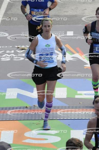 Coming across the finish line at the 2016 TCS NYC Marathon